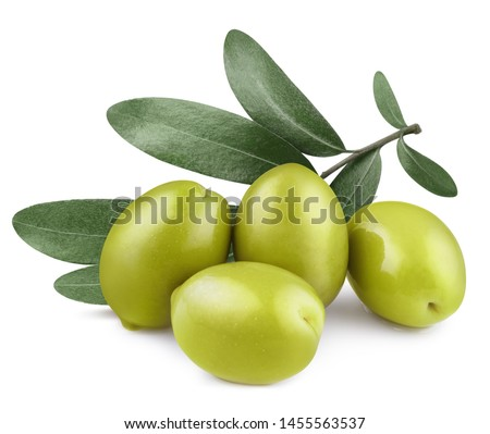 Delicious green olives with leaves, isolated on white background #1455563537