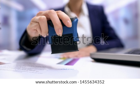 Female notary stamping agreement, company secretary, official document, validity #1455634352