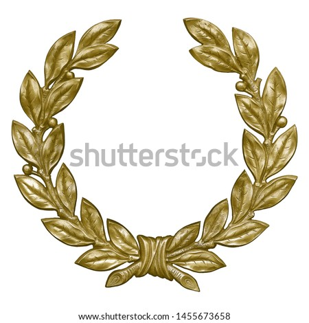 Golden decorative wreaths isolated on white background. Design element with clipping path #1455673658
