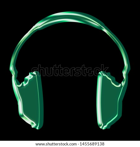 Shiny metallic green headphones icon music and audio symbol in a 3D illustration with a green color beveled edge metal effect isolated on black with clipping path