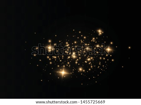 The dust sparks and golden stars shine with special light. Vector sparkles on a transparent background. Christmas light effect. Sparkling magical dust particles. #1455725669