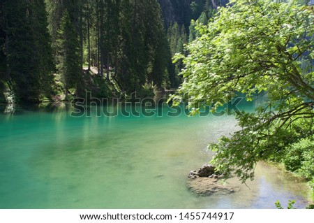 Partial view of Lake Weissensee is located in the midst of a pristine alpine environment. Carinthia, Austria #1455744917