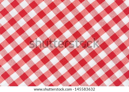 Tablecloth red and white diagonal texture background, high detailed