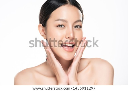 Beautiful Young Asian Woman with Clean Fresh Skin touch own face, Facial treatment, Cosmetology, beauty and spa, #1455911297