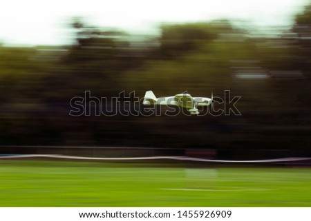 Aircraft Panning. Photo of Airplane model in flight