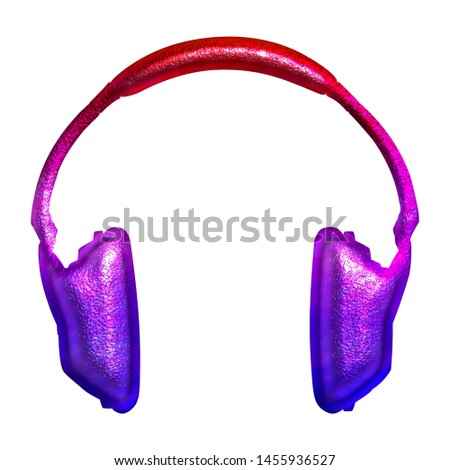 Colorful red purple pink gradient headphones icon music and audio symbol in a 3D illustration with a shiny metallic rough textured finish on white with clipping path