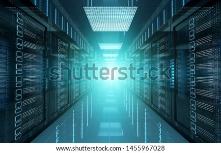 Dark servers data center room with bright halo light going through the corridor 3D rendering #1455967028