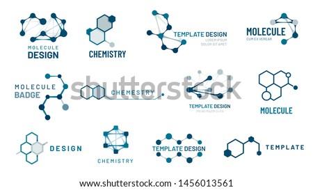 Hexagonal molecule badge. Molecular structure logo, molecular grids and chemistry hexagon molecules templates. Dna macromolecule, science bio code logo. Isolated vector symbols set #1456013561