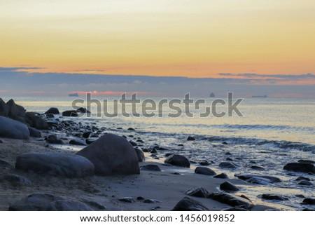 sunrise orange sky at Baltic sea gdynia poland #1456019852