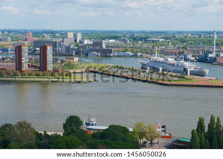 Rotterdam, Netherlands - June 02, 2013: View to the city and port of Rotterdam, Netherlands. #1456050026