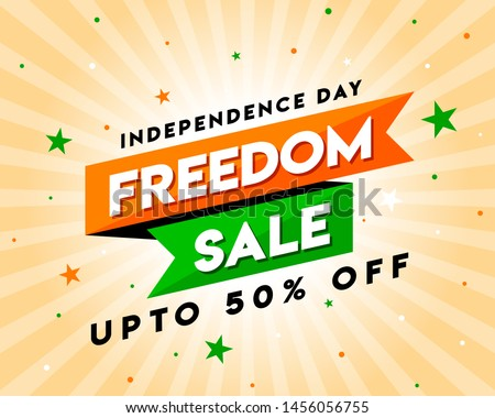 Freedom Sale on Independence Day of India, Concept, Template, Banner, Logo Design, Icon, Poster, Unit, Label, Web Header, Mnemonic with Celebration orange Rays Background - Vector, illustration #1456056755