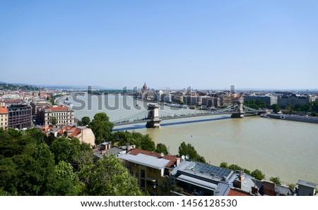 Czecheny Bridge across the Danube River in Budapest #1456128530