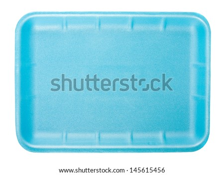 Little blue tray for food and products isolated on white background #145615456