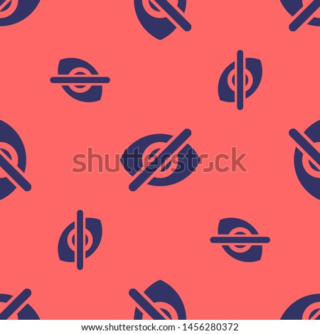 Seamless two color dark slate gray visibility off flat pattern on tomato background. #1456280372