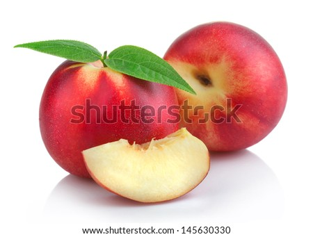 Ripe peach (nectarine) fruits with slices isolated on white background #145630330