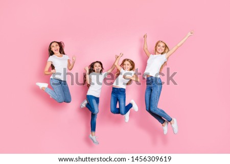 Full length body size view of four nice attractive adorable slim fit cheerful glad overjoyed excited long hair girls having fun rejoicing funky mood attainment motherhood isolated on pink background #1456309619