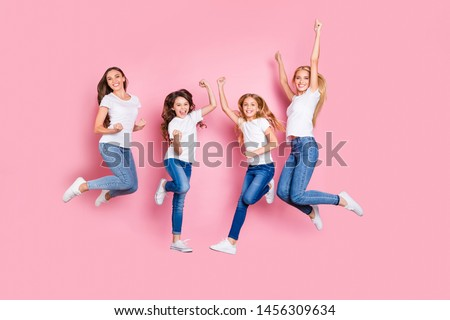 Full length body size view of four nice attractive trendy slim fit cheerful glad overjoyed excited positive long hair girls having fun rejoicing funky mood motherhood isolated on pink background #1456309634