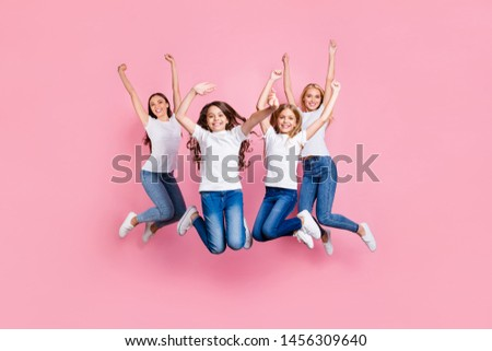 Full length body size view of four nice stylish attractive lovely charming cheerful cheery glad girls having fun free spare time rejoice motherhood isolated over pink pastel background #1456309640