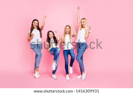 Photo of four different age ladies got achievement wear casual outfit isolated pink background #1456309931