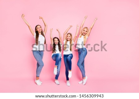 Full body photo of four different age ladies having fun wear casual outfit isolated pink background #1456309943
