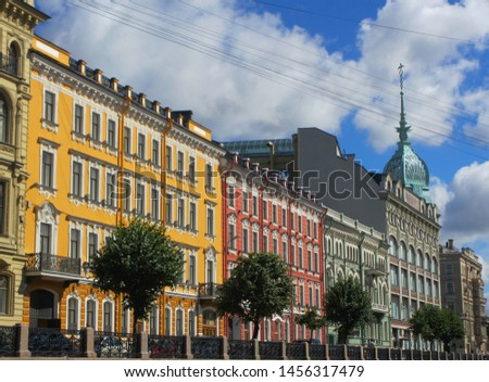 colourful street and apartments, Saint Petersburg, Russia #1456317479
