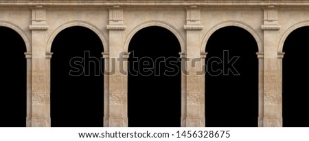 Elements of architectural decorations of buildings, arches and columns, door and window openings. On the streets in Catalonia, public places. Black and white retro style photo. #1456328675
