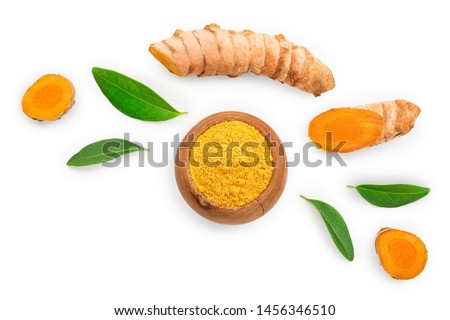 Turmeric powder and turmeric root isolated on white background with copy space for your text. Top view. Flat lay #1456346510