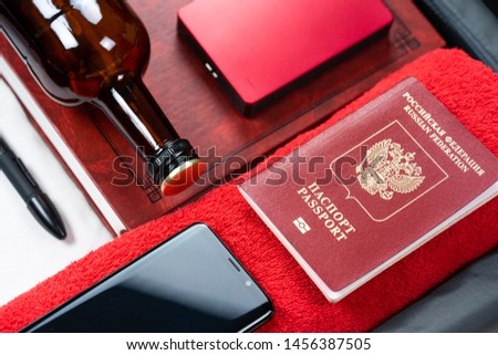 Suitcase with things. Suitcase with things to travel. Male rest #1456387505