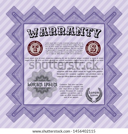 Violet Formal Warranty Certificate template. Sophisticated design. With complex linear background. Detailed.  #1456402115