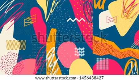 Creative doodle art header with different shapes and textures. Collage. Vector #1456438427