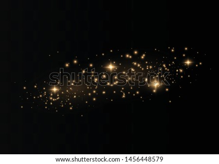 The dust sparks and golden stars shine with special light. Vector sparkles on a transparent background. Christmas light effect. Sparkling magical dust particles. #1456448579