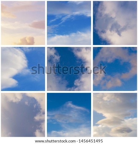 collage of several fragments of clouds in the blue sky with a white frame, a mosaic version of the design of the premises in the apartment or cafe #1456451495