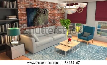 Interior of the living room. 3D illustration. #1456455167