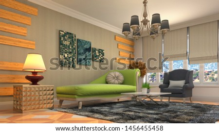 Interior of the living room. 3D illustration. #1456455458