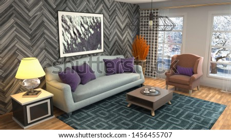 Interior of the living room. 3D illustration. #1456455707
