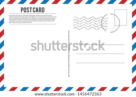 Blank vintage post card template with stamp.vector illustration Royalty-Free Stock Photo #1456472363