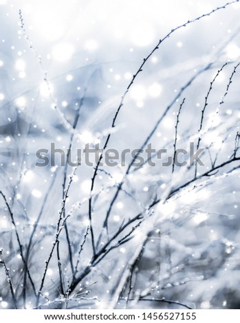 Snowing landscape, greeting card design and New Years Eve travel concept - Winter holiday background, nature scenery with shiny snow and cold weather in Christmas time #1456527155