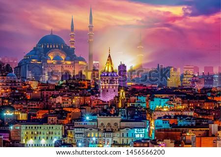 Skyline of istanbul. Galata Tower, Suleymaniye Mosque (Ottoman imperial mosque). Istanbul / Turkey. #1456566200