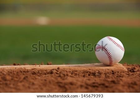 Baseball on the Pitchers Mound Royalty-Free Stock Photo #145679393