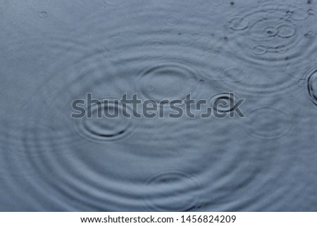Rain drops falling down into puddle outdoors #1456824209