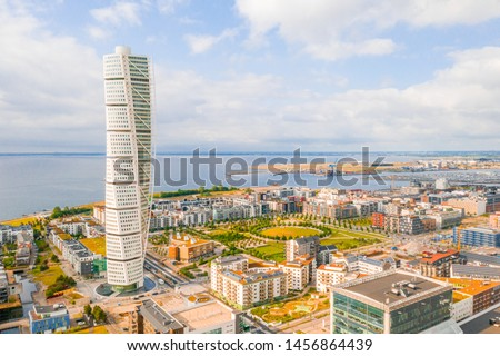 Beautiful aerial panoramic view of the Malmo city in Sweden. #1456864439