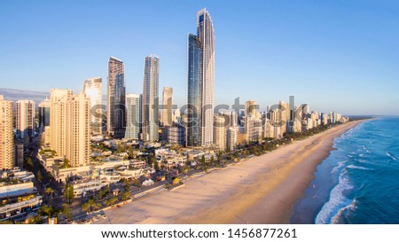 GOLD COAST, AUSTRALIA - AUGUST 4 2018: Surfers Paradise skyline and famous beach viewed from above. #1456877261
