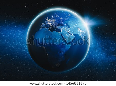 Europe and Africa city lights map. Elements of this image furnished by NASA. 3d rendering #1456881875