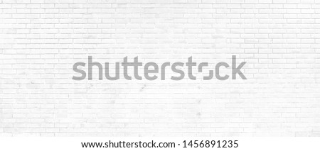White brick wall background abstract concrete floor or Old cement grunge background with white empty. #1456891235