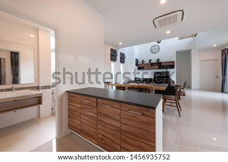 PHUKET, THAILAND - JULY 6 : Interior Design Modern living room with sofa and furniture of a new home on JULY 6, 2019, in Phuket Thailand.