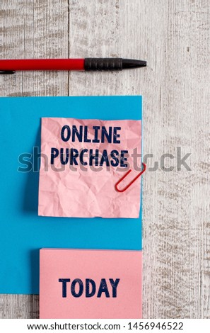 Word writing text Online Purchase. Business concept for Purchases electronic commerce goods from over the Internet Wrinkle paper and cardboard plus stationary placed above wooden background. #1456946522