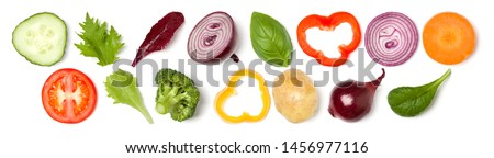 Creative layout made of tomato slice, onion, cucumber, basil leaves. Flat lay, top view. Food concept. Vegetables isolated on white background. Food ingredient pattern. Banner. #1456977116
