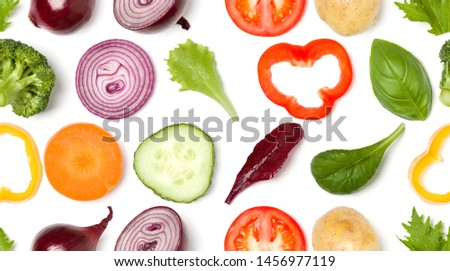 Creative layout made of tomato slice, onion, cucumber, basil leaves. Flat lay, top view. Food concept. Vegetables isolated on white background. Food ingredient seamless pattern. #1456977119