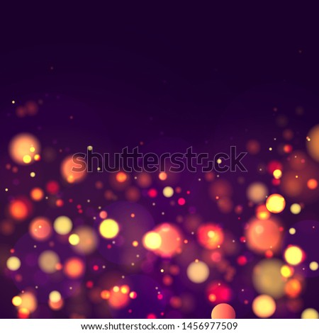 Festive purple and golden luminous background with colorful lights bokeh. Christmas concept Xmas greeting card. Magic holiday poster, banner. Night bright gold sparkles Vector Light abstract #1456977509