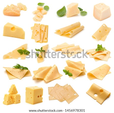 Cheese collection isolated on white background. Set of different cheeses. #1456978301